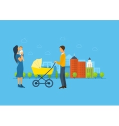 Happy young family with stroller and a baby walk vector image