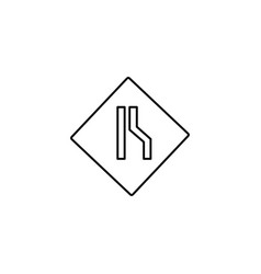 Right lane road sign icon vector