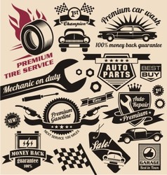 Set of vintage car symbols and logo designs vector