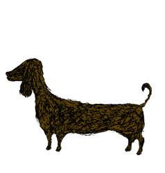 silhouette dog dachshund doodle style cartoon vector image