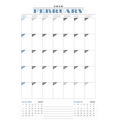 calendar planner template for 2018 year february vector image vector image