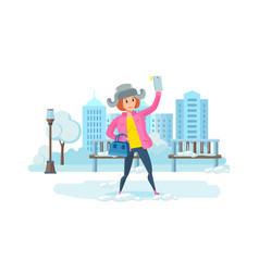 girl with phone in hand making selfie in park vector image