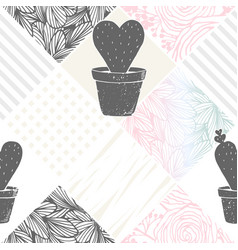 hand drawn floral patchwork seamless pattern with vector image vector image