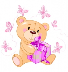 teddy bear with pink gift vector image vector image