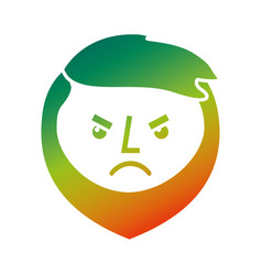 cartoon angry face man beard character vector image