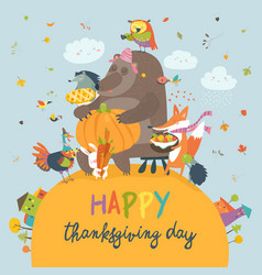 cute animals celebrating thanksgiving day vector image vector image