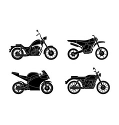 motorcycles silhouettes set vector image vector image