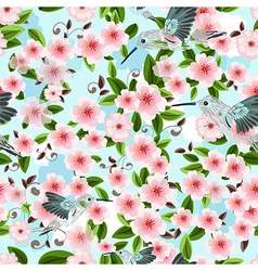 seamless texture of blossom cherry vector image vector image