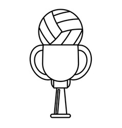 Trophy volleyball ball winner outline vector