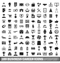 100 business career icons set simple style vector image