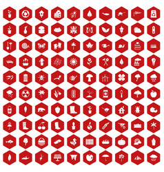 100 garden stuff icons hexagon red vector