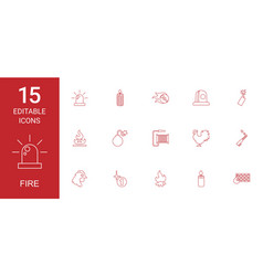 15 fire icons vector image