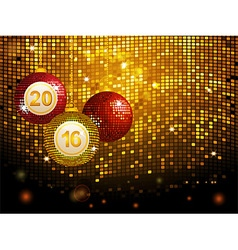2016 disco baubles over golden tiles background vector image