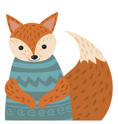 a cartoon portrait of a fox stylized happy fox in vector image