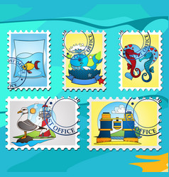 A set of stylized for postage stamps on the theme vector