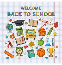 back to school set on notebook sheet vector image