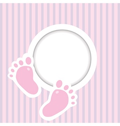 Background with two child foot steps and place for vector