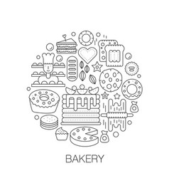 Bakery pastry in circle - concept line vector