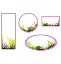 banners with viola flowers vector image