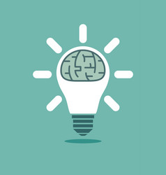 big human brain inside shining lightbulb vector image