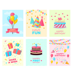 birthday party cards template card design fun vector image