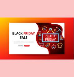 black friday sale neon landing page vector image
