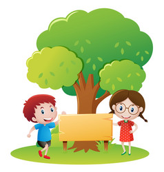 boy and girl by the wooden sign in garden vector image