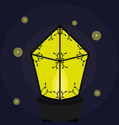 burning lantern with fireflies vector image