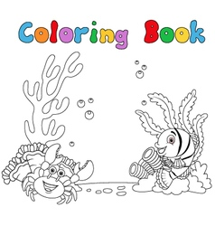 Cartoon under water coloring book vector