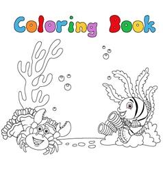 Cartoon under water coloring book vector image