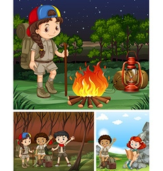 Children camping out in the forest vector