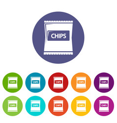 Chips icons set color vector