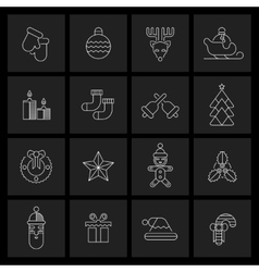 Christmas icons set outline vector