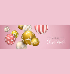 christmas pink bauble ornament web banner vector image