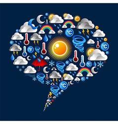 Climate icons set on bubble shape vector