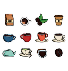 Coffee time set icons vector