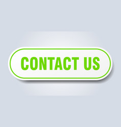 contact us sign us rounded green sticker vector image