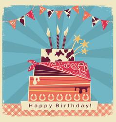cowboy party card with happy birthday big cake vector image