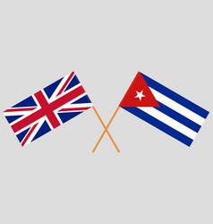 Cuba and uk cuban and british flags vector
