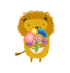 cute childish hand drawn orange lion with bouquet vector image