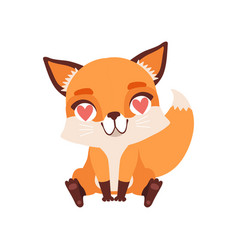 Cute fox character in love with hearts in its eyes vector