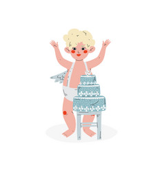 cute funny cupid and wedding cake amur baby angel vector image