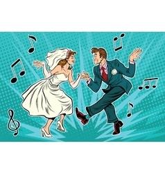 Dancing bride and groom vector