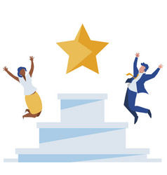 Elegant business couple celebrating with star in vector