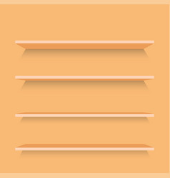 empty wood shelves template vector image