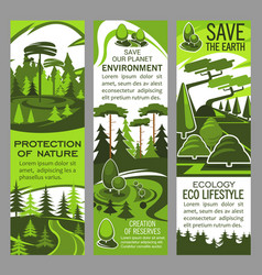 Environment protection banner of eco green nature vector