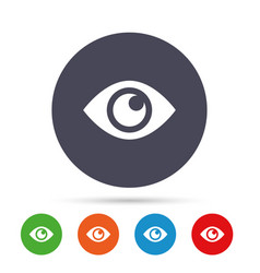 eye sign icon publish content button vector image