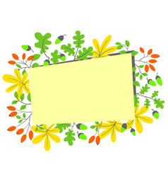 Fall season frame autumn border with bright vector