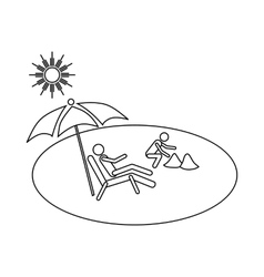 Family vacation on beach icon outline style vector
