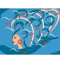 fantastic sea girl or woman mermaid vector image